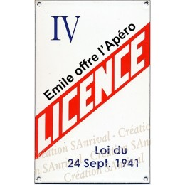 """Your personalized Enamel plate """"Licence IV"""""""
