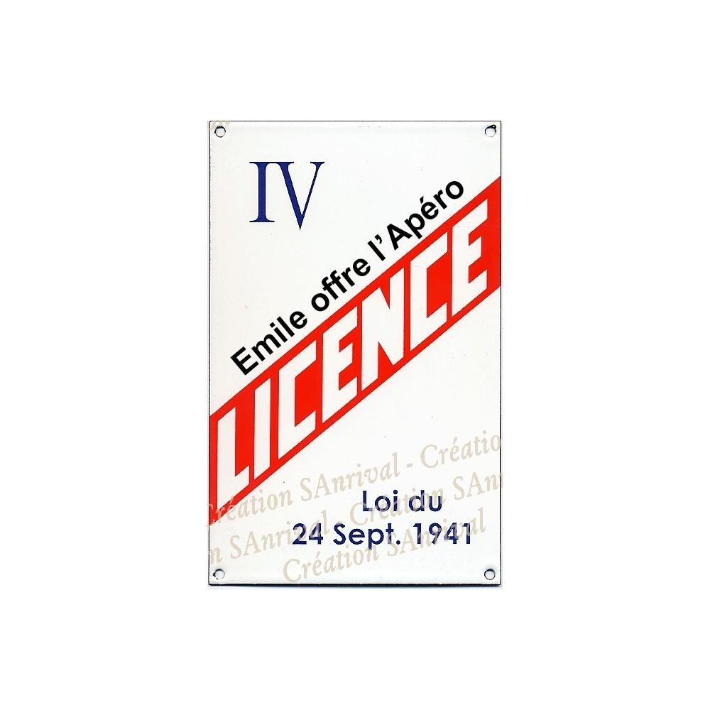 """Plaque émaillée """"Licence IV"""" personnalisée"""