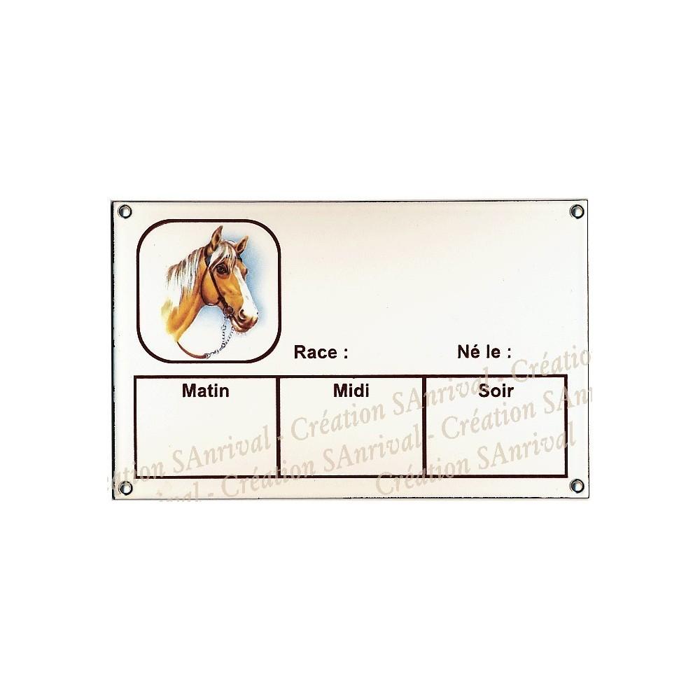 Plaque Box Chevaux émaillée blanc liseré et texte marron décor Joly Jumper 14x23cm