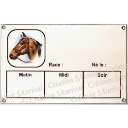 Plaque Box Chevaux émaillée blanc liseré et texte marron décor Capitaine 14x23cm