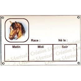 Plaque Box Chevaux émaillée blanc liseré et texte marron décor Frou-Frou 14x23cm