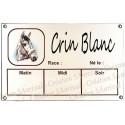 Plaque Box Chevaux émaillée blanc liseré et texte marron décor Crin Blanc 14x23cm
