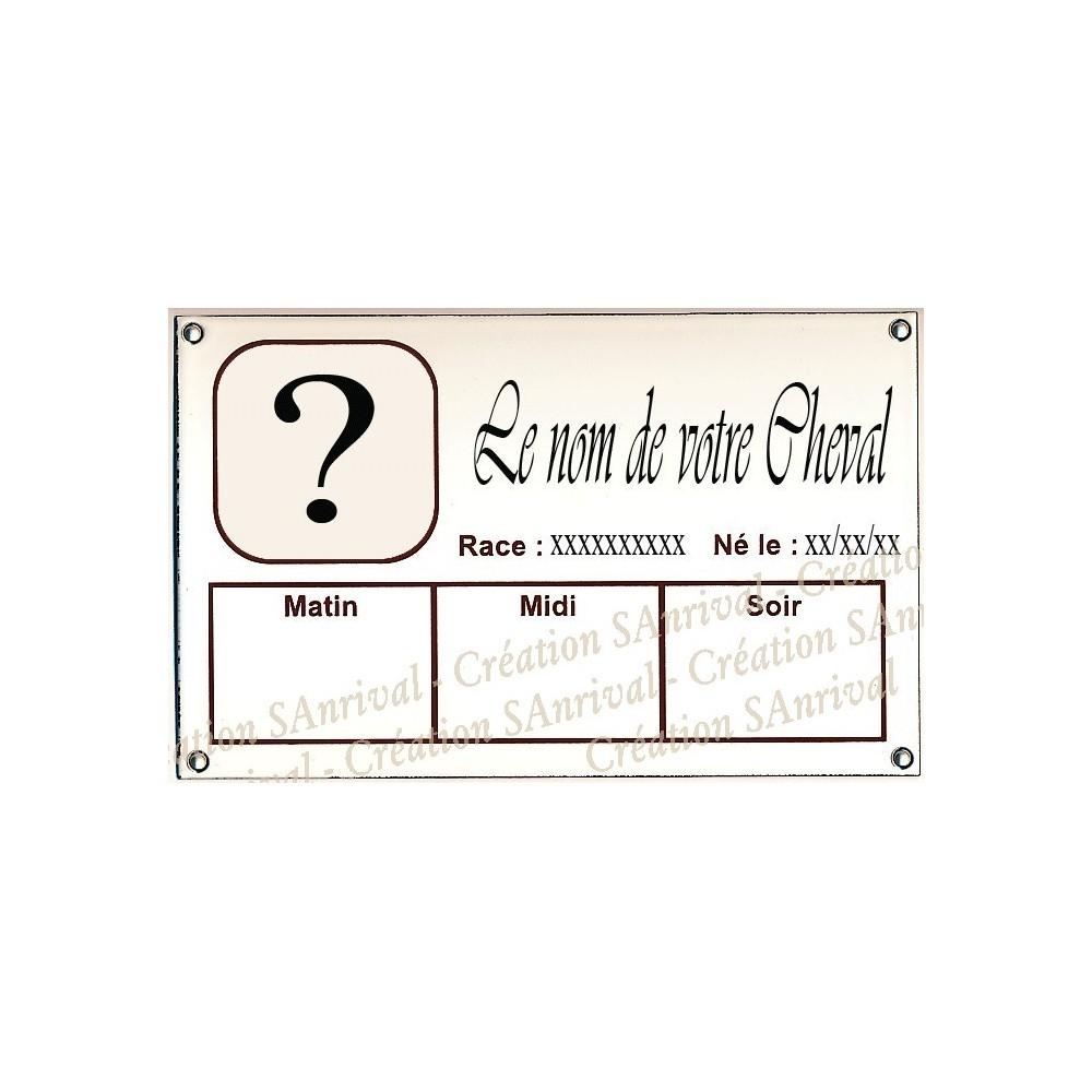 Plaque Box Chevaux personnalisable émaillée blanc liseré et texte marron avec le décor de votre cheval 14x23cm