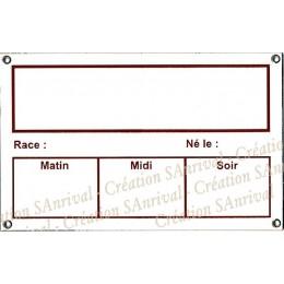 Plaque Box Chevaux personnalisable émaillée blanc liseré et texte marron 14x23cm