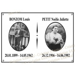 Funeral enamel plate rectangle 8x11,2in + your photo + black net