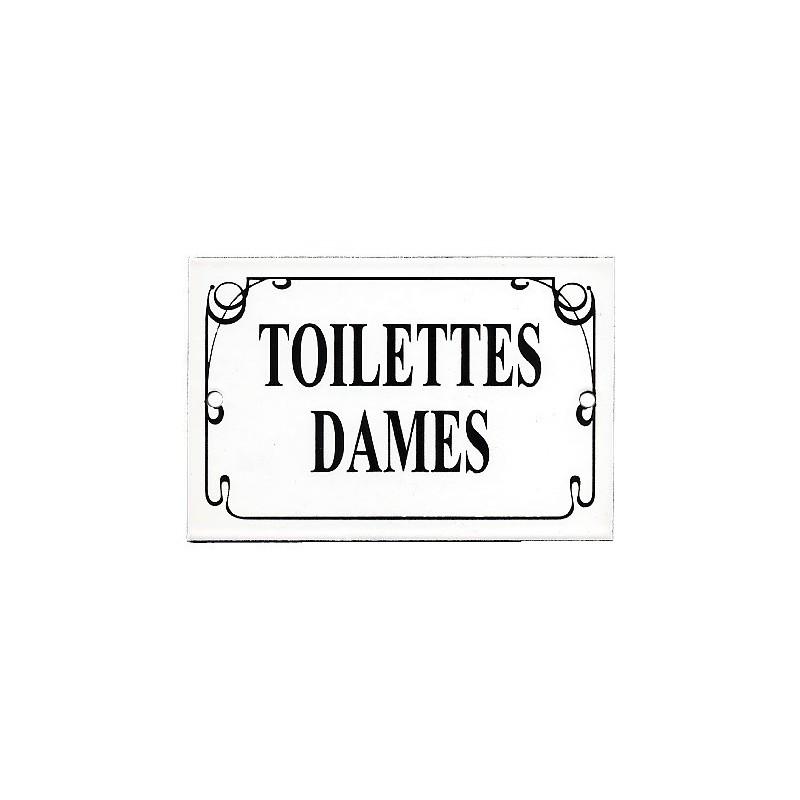 plaque maill e toilettes dames filet anglais 15x10cm. Black Bedroom Furniture Sets. Home Design Ideas