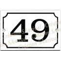 Numéro noir émail blanc 15x10cm
