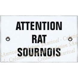"""Plaque émaillée 10x6cm """"Attention Rat Sournois"""""""