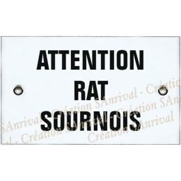 "Plaque émaillée 10x6cm ""Attention Rat Sournois"""