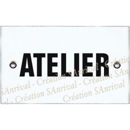 """Plaque émaillée 10x6cm """"Atelier"""""""