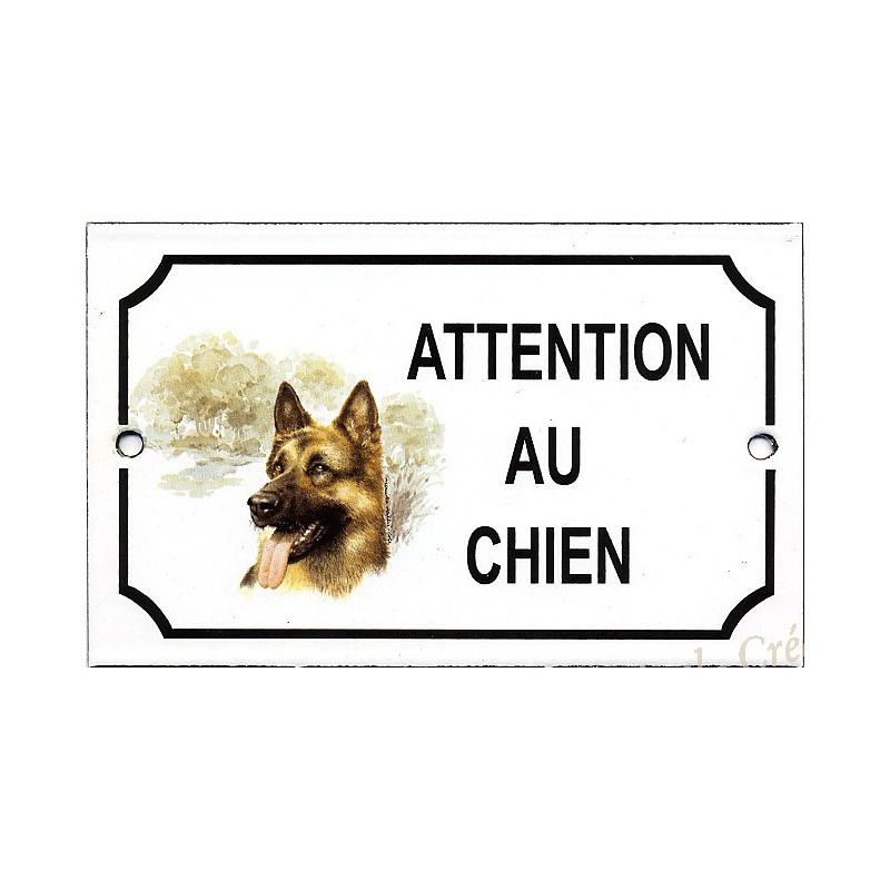 enamel plate attention au chien german shepherddecor. Black Bedroom Furniture Sets. Home Design Ideas