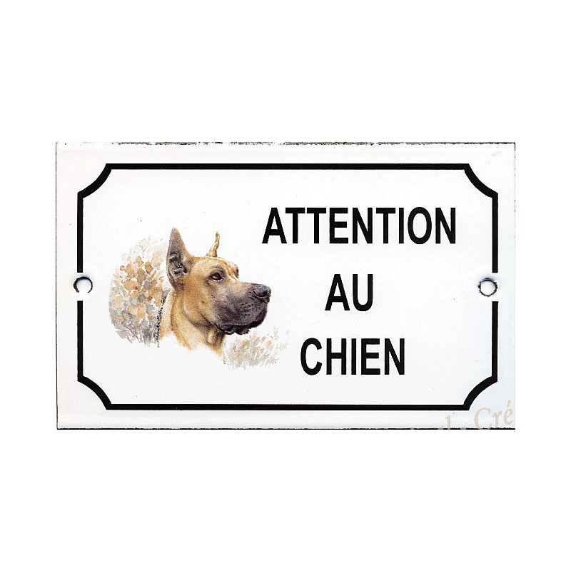 plaque maill e attention au chien d cor dogue. Black Bedroom Furniture Sets. Home Design Ideas