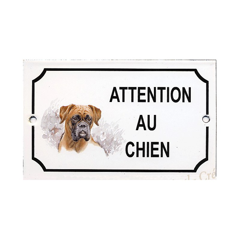 plaque maill e attention au chien d cor boxer. Black Bedroom Furniture Sets. Home Design Ideas