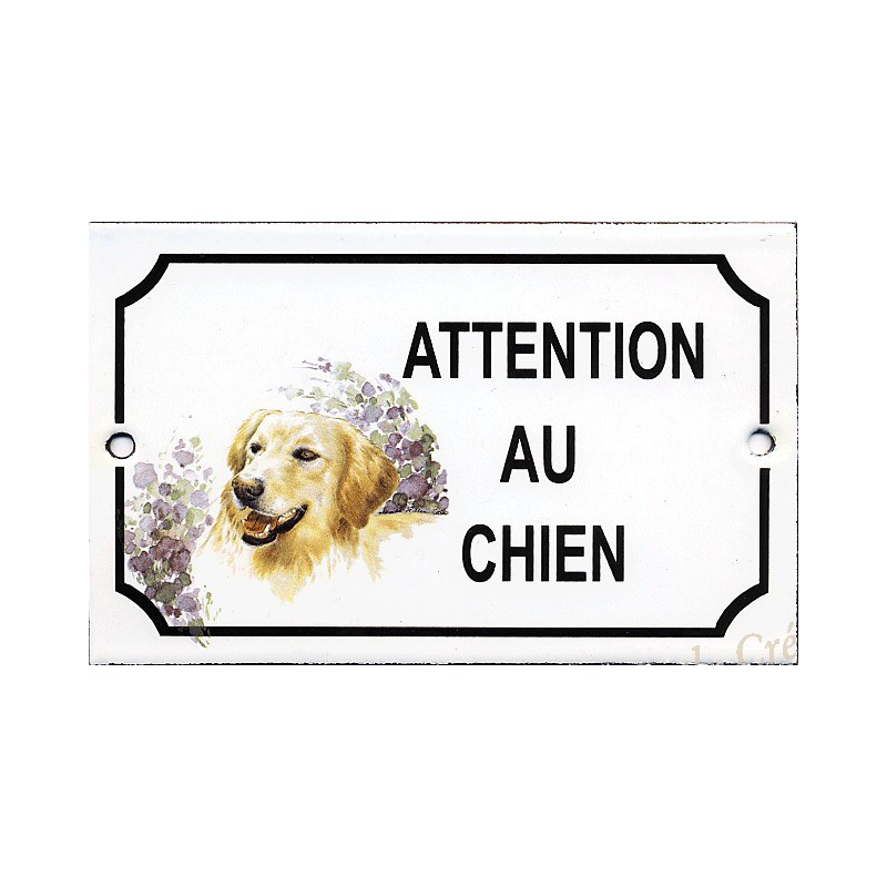 plaque maill e attention au chien d cor golden retriever. Black Bedroom Furniture Sets. Home Design Ideas
