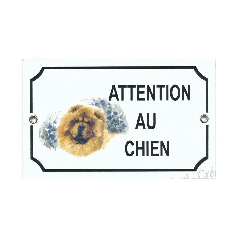 plaque maill e attention au chien d cor chow chow. Black Bedroom Furniture Sets. Home Design Ideas