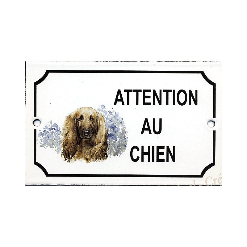 plaque maill e attention au chien d cor levrier. Black Bedroom Furniture Sets. Home Design Ideas