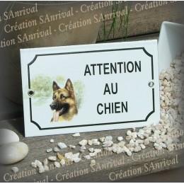 """Plaque émaillée """"Attention au Chien"""" décor Berger Allemand"""