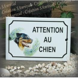 """Plaque émaillée """"Attention au Chien"""" décor Rottweiler"""
