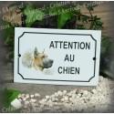 """Plaque émaillée """"Attention au Chien"""" décor Dogue"""