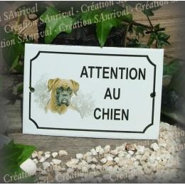 """Plaque émaillée """"Attention au Chien"""" décor Boxer"""