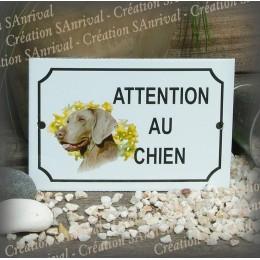 """Plaque émaillée """"Attention au Chien"""" décor Braque de Wermar"""