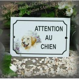 """Plaque émaillée """"Attention au Chien"""" décor Golden retriever"""