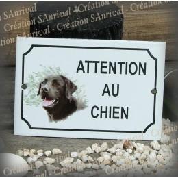 """Plaque émaillée """"Attention au Chien"""" décor Labrador Noir"""