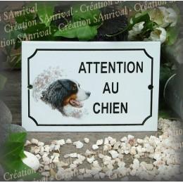 """Plaque émaillée """"Attention au Chien"""" décor Bouvier"""