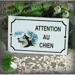 """Plaque émaillée """"Attention au Chien"""" décor Husky"""