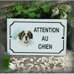 """Plaque émaillée """"Attention au Chien"""" décor Saint Bernard"""