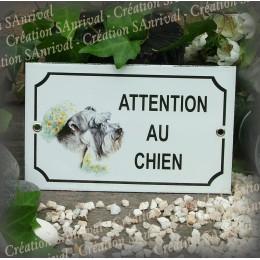 """Plaque émaillée """"Attention au Chien"""" décor Fox terrier"""