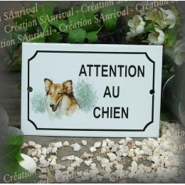 """Plaque émaillée """"Attention au Chien"""" décor Colley"""