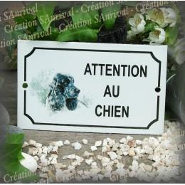 """Plaque émaillée """"Attention au Chien"""" décor Cocker"""