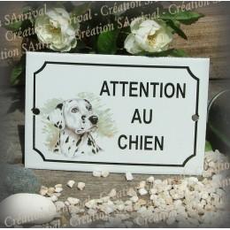 """Plaque émaillée """"Attention au Chien"""" décor Dalmatien"""
