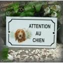 """Plaque émaillée """"Attention au Chien"""" décor Setter"""