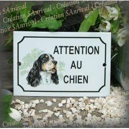 """Plaque émaillée """"Attention au Chien"""" décor springer spaniel"""