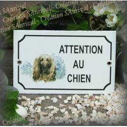 """Plaque émaillée """"Attention au Chien"""" décor Levrier"""
