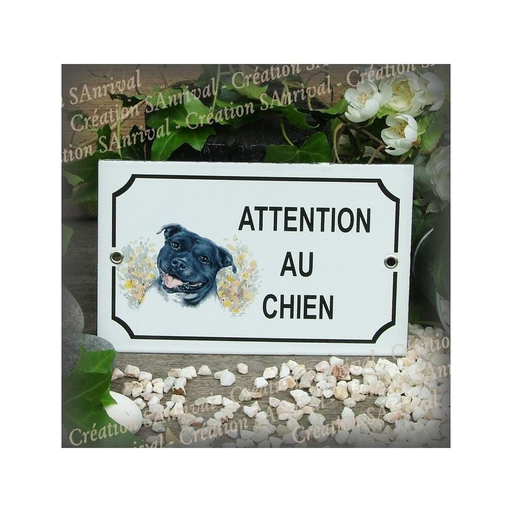 """Plaque émaillée """"Attention au Chien"""" décor Staffordshire"""