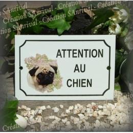 """Plaque émaillée """"Attention au Chien"""" décor Carlin"""