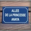 Plaque émaillée personnalisée bleue 30x20cm - filet rue - texte Arial blanc