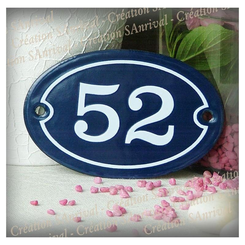 plaque ovale bleue num ro blanc 11x7cm. Black Bedroom Furniture Sets. Home Design Ideas