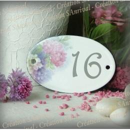 Numéro ovale émaillé décor hortensia
