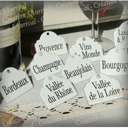 12 etiquettes en émail blanc pour la cave