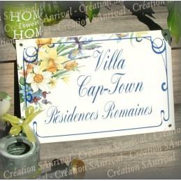 Plaque de Maison décor bouquet varié fond blanc 30x20cm