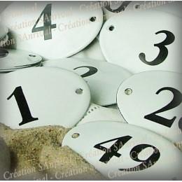 Numéro ovale bombée en émail à l'ancienne 7x4cm