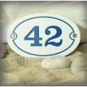 Plaque ovale blanc numéro bleu