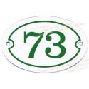 Plaque ovale blanc numéro vert