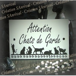"Plaque émaillée blanche ""Attention Chats de Garde"" 15x10cm"