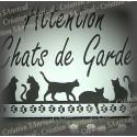 """Plaque émaillée blanche """"Attention Chats de Garde"""" 15x10cm"""