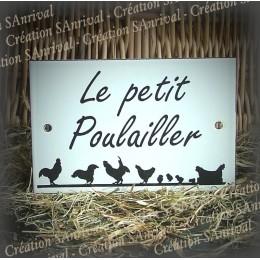 """Plaque émaillée blanche """"Le Petit Poulailler"""" 15x10cm"""